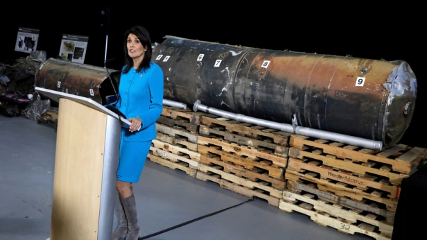 """U.S. Ambassador to the United Nations Nikki Haley briefs the media in front of remains of Iranian """"Qiam"""" ballistic missile in Washington"""